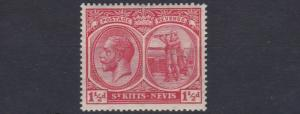 ST KITTS  1921 - 29   S G  40    1 1/2D   RED     LMH