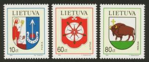 Lithuania Sc# 497-9 MNH Coat of Arms
