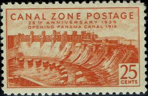 CANAL ZONE #134 1939 25c GATUN SPILLWAY--BEFORE ISSUE--MINT-OG/NH-VF