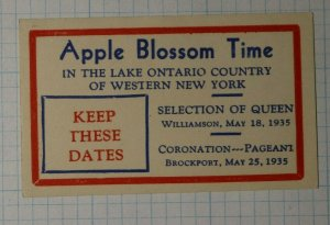 Apple Blossom Time Keep These Dates 1935 Company Brand Ad Poster Stamp