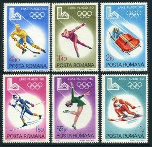 Romania 2926-2931,2932,MNH.Mi 3666-3671,Bl.164. Olympics Lake Placid-1980.