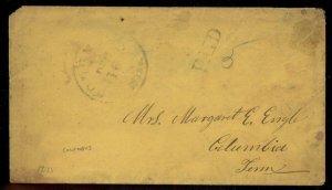 CSA 1861 Columbus GA Georgia Civil War Confederate Stampless Paid 5 Cover 92867