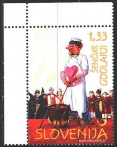 Slovenia. 2011. 882. Folklore, carnival, masks, heart. MVLH.