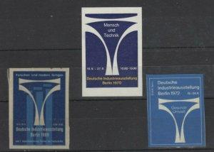 Germany- Lot of 3 - Berlin Man & Technology Expos 1969, 1970 & 1972 - NG