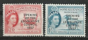 Somaliland # 140-41  Legislative Council, overprints (2) VLH Unused