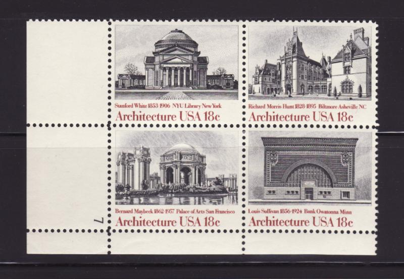 United States 1931a Plate Block Set MNH Architecture (A)