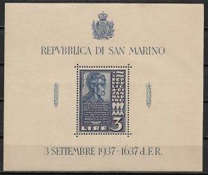 1938 San Marino 186  3L Dedication of a Lincoln Bust MNH OG S/S