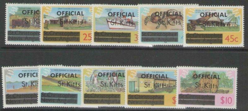 ST.KITTS SGO1A/10A 1980 OFFICIAL SET MNH