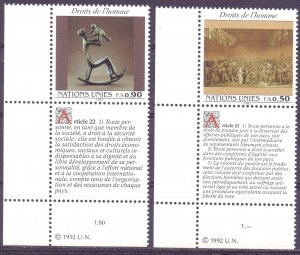UN Geneva. 1992. 223-24. human rights art. MNH.