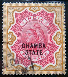 CHAMBA 1887 2Rs Queen Victoria Used SG19 CV£425