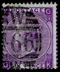 SG108, 6d dull violet plate 8, USED. Cat £90. GK