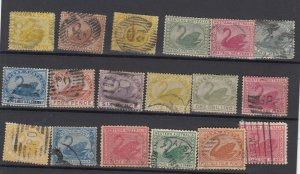 Western Australia Unchecked Swan Collection Of 18 Fine Used JK6312