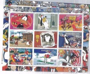 LOONY TOONES 2001 MERRY CHRISTMAS Souvenir Sheet MNH from Kyrgyzstan - E52 -E54