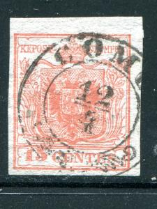 Austria Lombardy #4c ribbed paper   Used F-VF cat $900