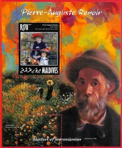 A4078 - MALDIVES - ERROR MISPERF, Souvenir sheet: 2014 Art Pierre Auguste Renoir