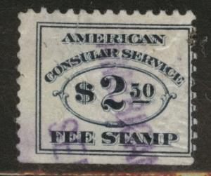 USA Scott RK18 Consular Service Fee stamp, tear embossed cx