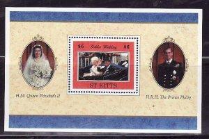 St. Kitts-Sc#429- id7-unsed NH sheet-QEII-50th Wedding-1997-