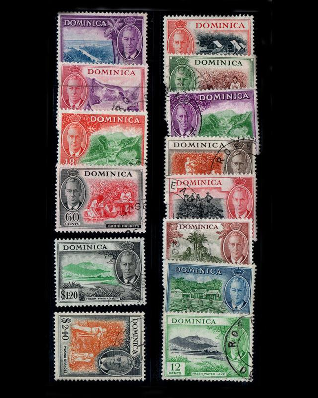 VINTAGE: DOMINICA 1951 USD,LH,BH SCOTT # 123-136 $ 69.65 LOT # VSADMC1951A