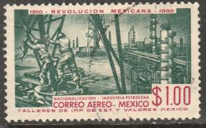 MEXICO C254, $1P 50th Anniv Mexican Revolution. USED (1019)