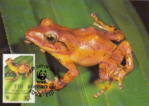 Fiji 1988 Maxicard Sc #593 30c Fiji Tree frog WWF