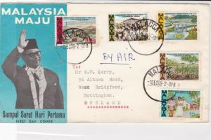 malaysia 1966 island scenes air mail  stamps cover ref 20549
