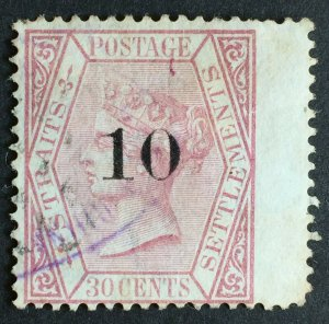 Malaya 1880 Straits Settlements QV 10c on 30c Used SG#33 M2448