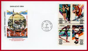 US FDC #2067-2070 Winter Olympic Games ~ House of Farnam Cachet