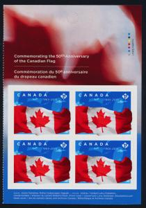 Canada 2807a Right Booklet Pane MNH 50th Anniversary of the Canadian Flag