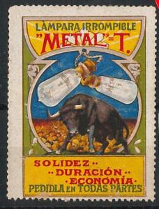 56862 -  VINTAGE  POSTER STAMP Label - SPAIN : LIGHT Lamp BULL