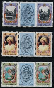 Gambia 556-8 gutter pairs MNH Queen Mother 85th Birthday, Car