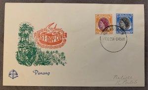 Penang 1954 first day cover, 25c + 50c QEII.  Unusual KEPALA BATAS postmark
