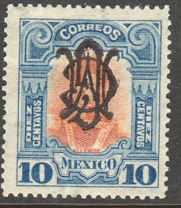 MEXICO 460SP, 10¢ VILLA MONOGRAM REVOLUT OVPERPRINT INVERTED UNUSED, H OG. VF.