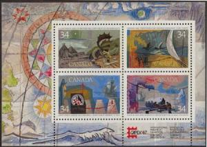 Canada USC #1107b Mint VF-NH 1986 Exploration  Souvenir Sheet