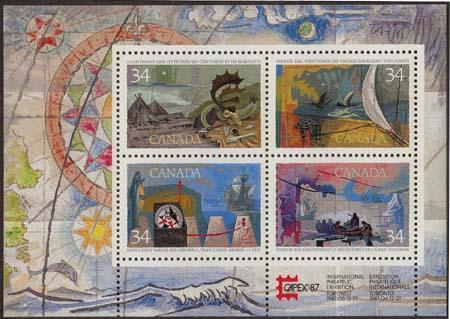 Canada USC #1107b Mint VF-NH 1986 Exploration  Souvenir Sheet