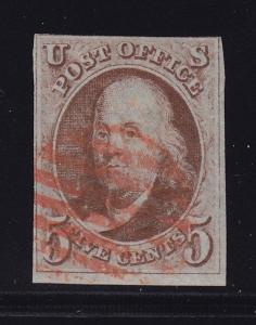 1 F-VF used neat Red cancel with nice color cv $ 400 ! see pic !