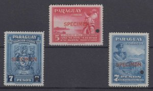 "PARAGUAY 1942-43 ARMS, AGRICULTURE+ Sc 396-398 PERF PROOFS + ""SPECIMEN"" MNH"