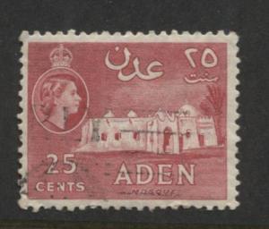 ADEN - Scott 51 - QEII Definitive- 1953-   Used - Single 25c Stamp