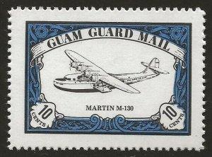 Guam Guard Mail 1981 Local Post MARTIN M-130 Airplane VF-NH, dull gum