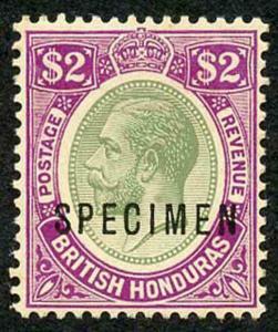 British Honduras SG137s KGV 2 Dollar Opt SPECIMEN M/M (light offset on reverse)