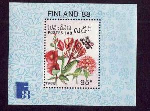 Laos-Sc#876-unused NH sheet-Flowers-Finlandia '88-