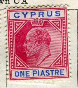 CYPRUS; 1904 early Ed VII issue Mint hinged 1Pi. value
