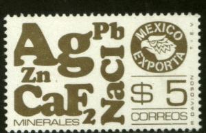 MEXICO Exporta 1120, $5P MINERALS GRAY Olive Paper 1 MNH
