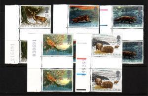 Great Britain Sc 1421-5 1992 Animals gutter prs mint NH