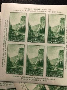 10 Sheets  751 .01 Yosemite S/S Of 6  Mint Never Hinged
