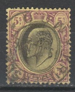 TRANSVAAL 1902 KEVII 5/- WMK CROWN CA USED