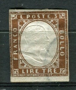 ITALY; SARDINIA 1855 early classic Imperf issue used fine Shade of 3L. value
