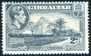 GIBRALTAR-1940 2d Grey Perf 13½ SIDEWAYS WMK.  A superb lightly mounted mint exa