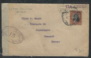 CHILE  (P3108B) 1926    20C ON CENSORED COVER VALPARAISO TO DENMARK, ARRIVAL PMK