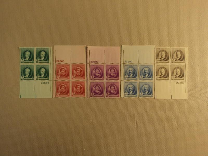 USPS Scott 884-88 American Artists 1940 Lot Of 5 Plate Bl...