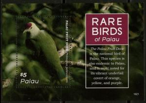 PALAU  2016 RARE BIRDS OF PALAU SOUVENIR SHEET  MINT  NH